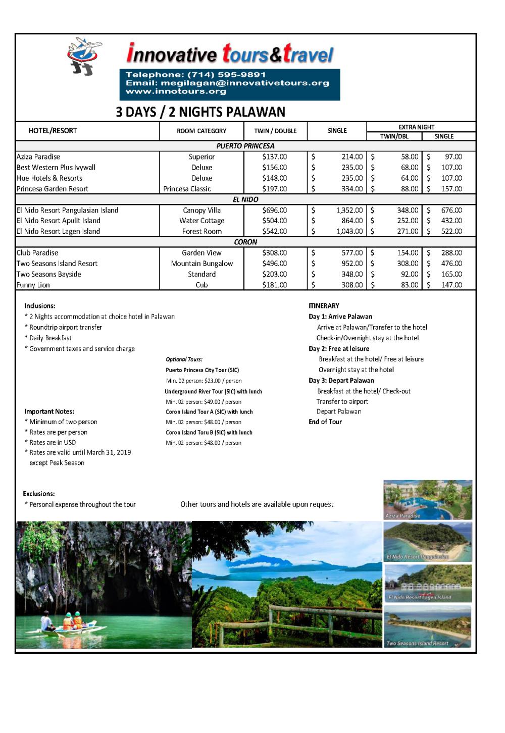 Free & Easy Palawan_IVT 2018 rates